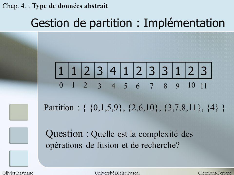 Olivier RaynaudUniversité Blaise PascalClermont-Ferrand Gestion de partition : Implémentation Chap. 4. : Type de données abstrait 112341233123 012 345