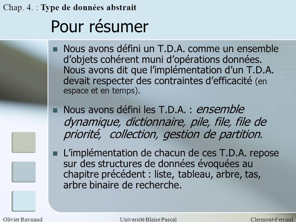 Olivier RaynaudUniversité Blaise PascalClermont-Ferrand Pour résumer Nous avons défini un T.D.A. comme un ensemble dobjets cohérent muni dopérations d