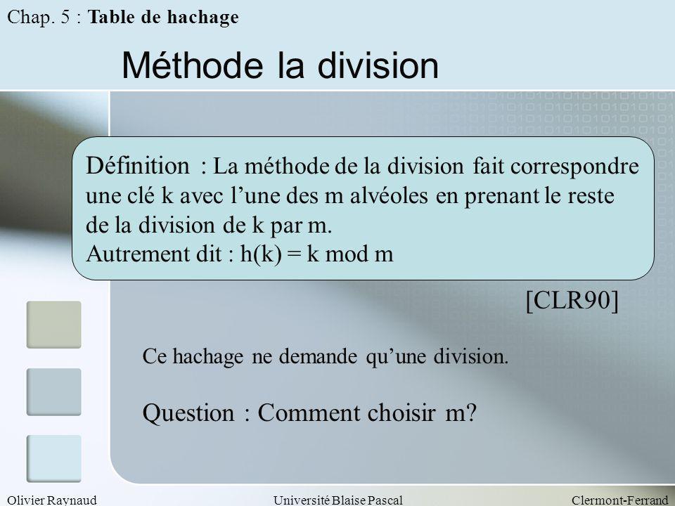 Olivier RaynaudUniversité Blaise PascalClermont-Ferrand Méthode la division Définition : La méthode de la division fait correspondre une clé k avec lu