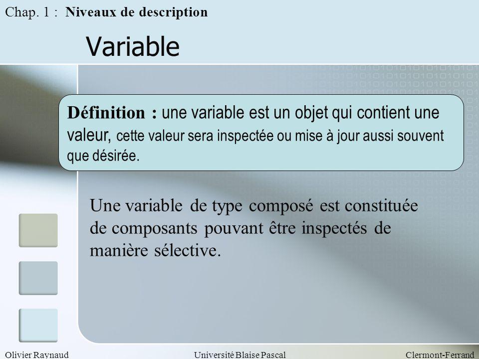 Olivier RaynaudUniversité Blaise PascalClermont-Ferrand Variable Chap. 1 : Niveaux de description Définition : une variable est un objet qui contient