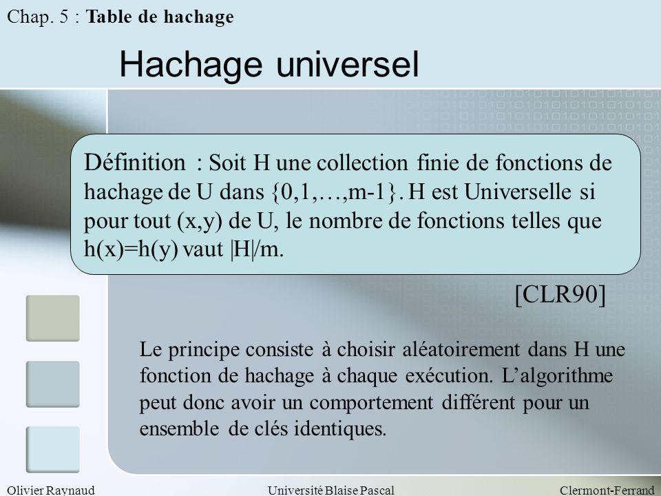 Olivier RaynaudUniversité Blaise PascalClermont-Ferrand Hachage universel Définition : Soit H une collection finie de fonctions de hachage de U dans {