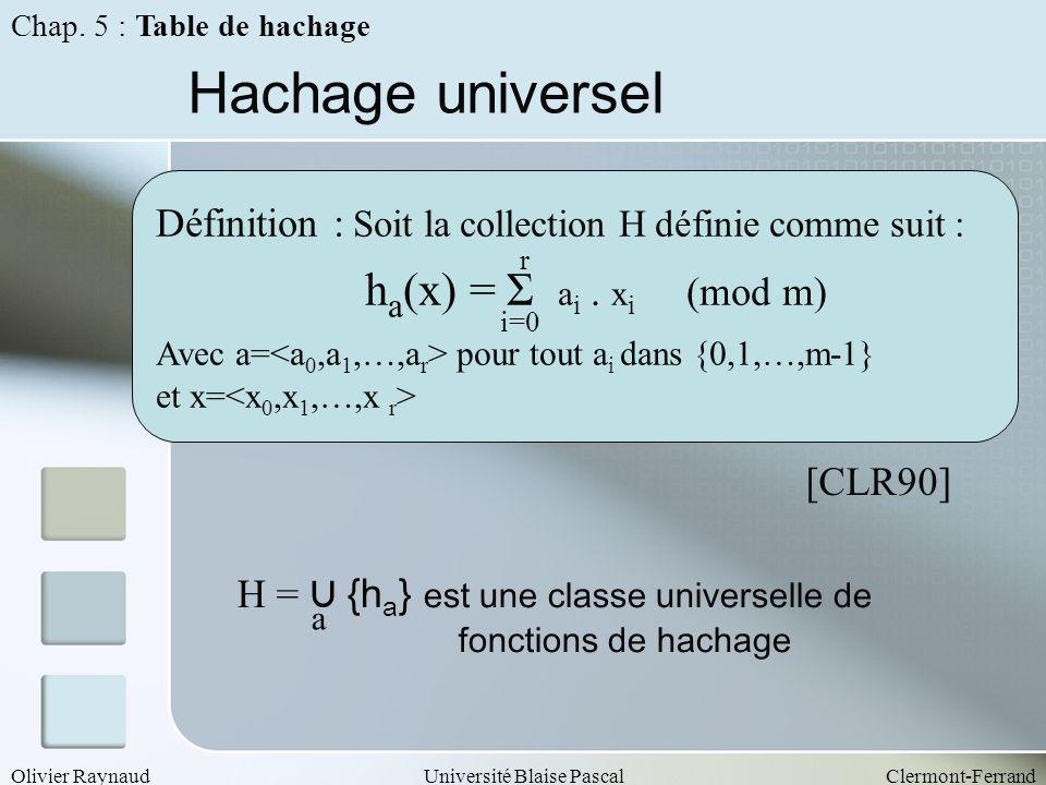 Olivier RaynaudUniversité Blaise PascalClermont-Ferrand Hachage universel Définition : Soit la collection H définie comme suit : h a (x) = Σ a i. x i