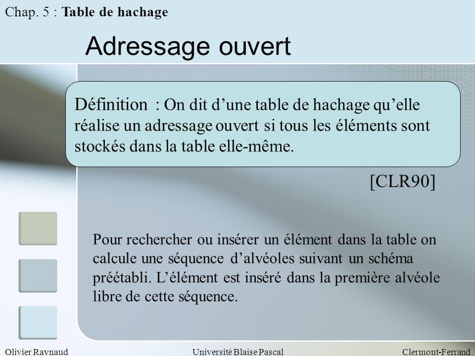 Olivier RaynaudUniversité Blaise PascalClermont-Ferrand Adressage ouvert Définition : On dit dune table de hachage quelle réalise un adressage ouvert