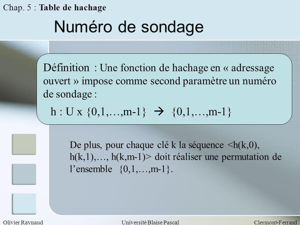 Olivier RaynaudUniversité Blaise PascalClermont-Ferrand Numéro de sondage Définition : Une fonction de hachage en « adressage ouvert » impose comme se
