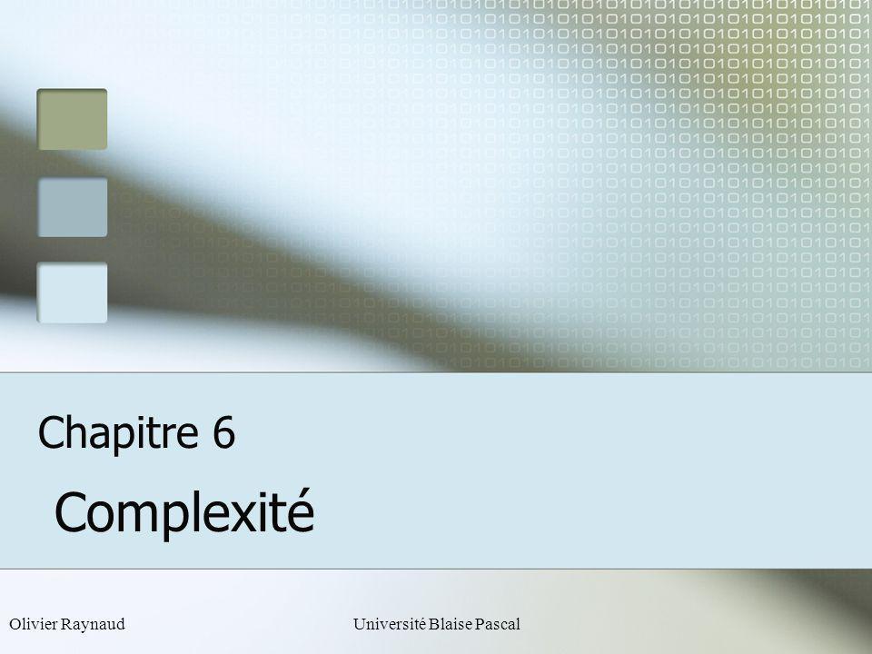 Olivier RaynaudUniversité Blaise Pascal Chapitre 6 Complexité
