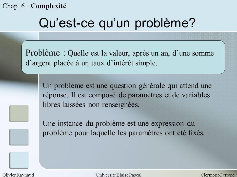 Olivier RaynaudUniversité Blaise PascalClermont-Ferrand Quest-ce quun problème? Problème : Quelle est la valeur, après un an, dune somme dargent placé