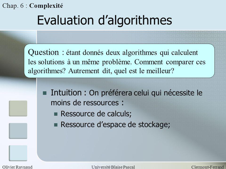 Olivier RaynaudUniversité Blaise PascalClermont-Ferrand Evaluation dalgorithmes Intuition : On préférera celui qui nécessite le moins de ressources :