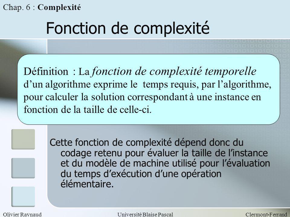 Olivier RaynaudUniversité Blaise PascalClermont-Ferrand Fonction de complexité Cette fonction de complexité dépend donc du codage retenu pour évaluer