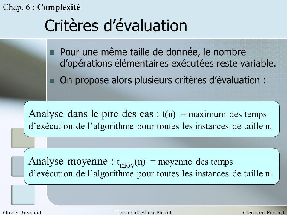 Olivier RaynaudUniversité Blaise PascalClermont-Ferrand Critères dévaluation Pour une même taille de donnée, le nombre dopérations élémentaires exécut