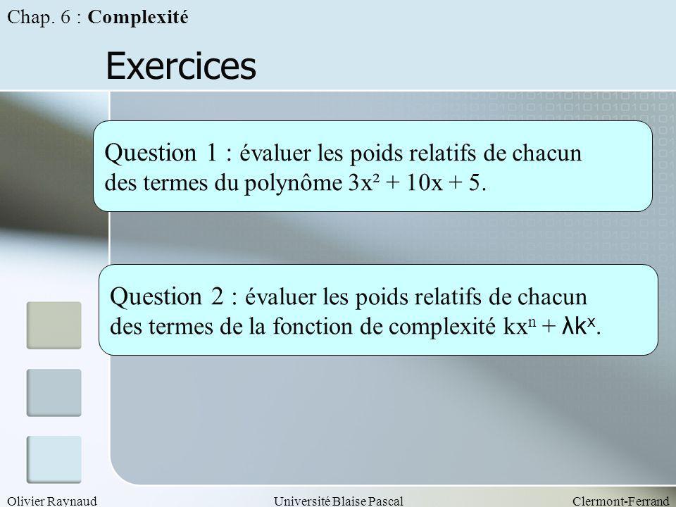 Olivier RaynaudUniversité Blaise PascalClermont-Ferrand Exercices Question 1 : évaluer les poids relatifs de chacun des termes du polynôme 3x² + 10x +