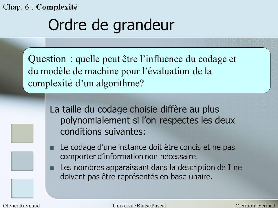 Olivier RaynaudUniversité Blaise PascalClermont-Ferrand Ordre de grandeur Question : quelle peut être linfluence du codage et du modèle de machine pou