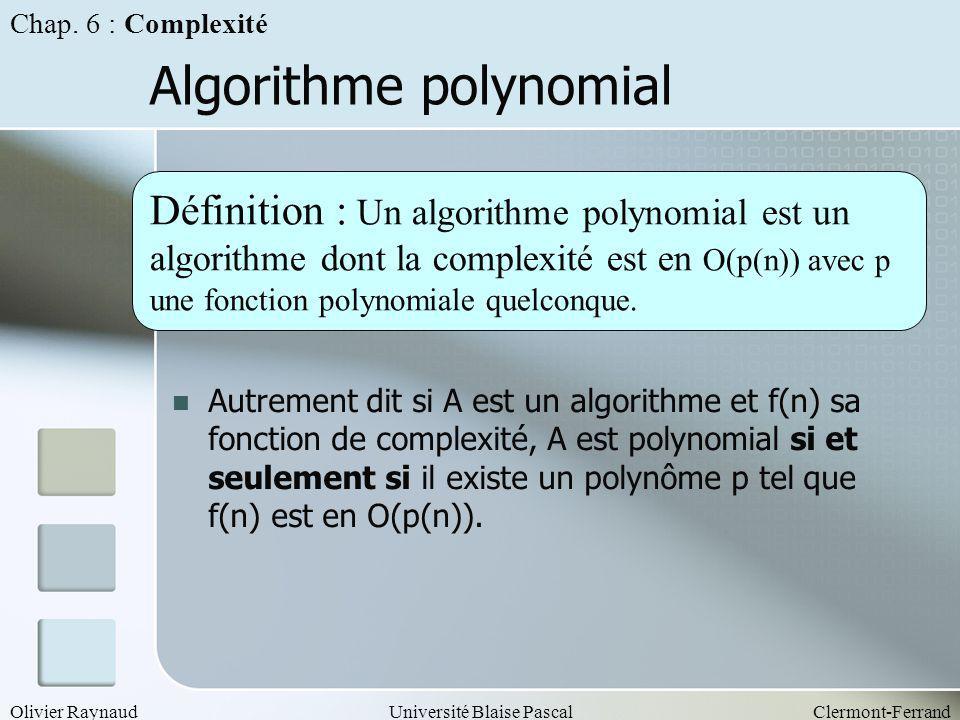 Olivier RaynaudUniversité Blaise PascalClermont-Ferrand Algorithme polynomial Définition : Un algorithme polynomial est un algorithme dont la complexi