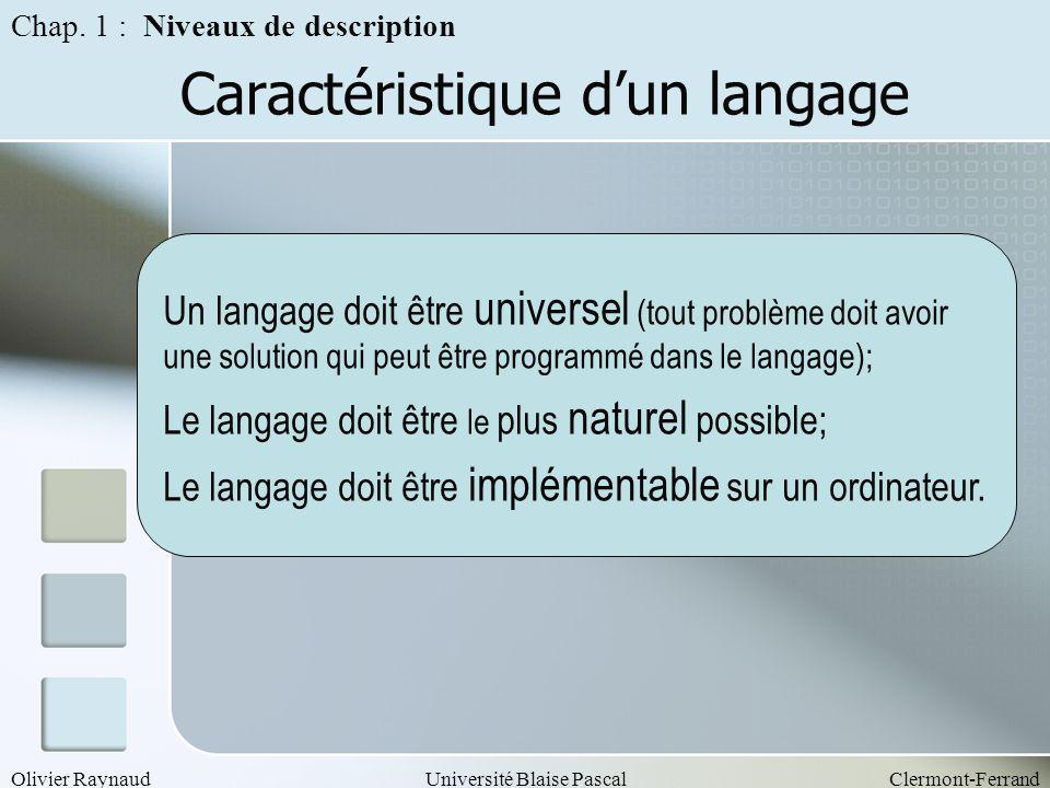 Olivier RaynaudUniversité Blaise PascalClermont-Ferrand Caractéristique dun langage Un langage doit être universel (tout problème doit avoir une solut