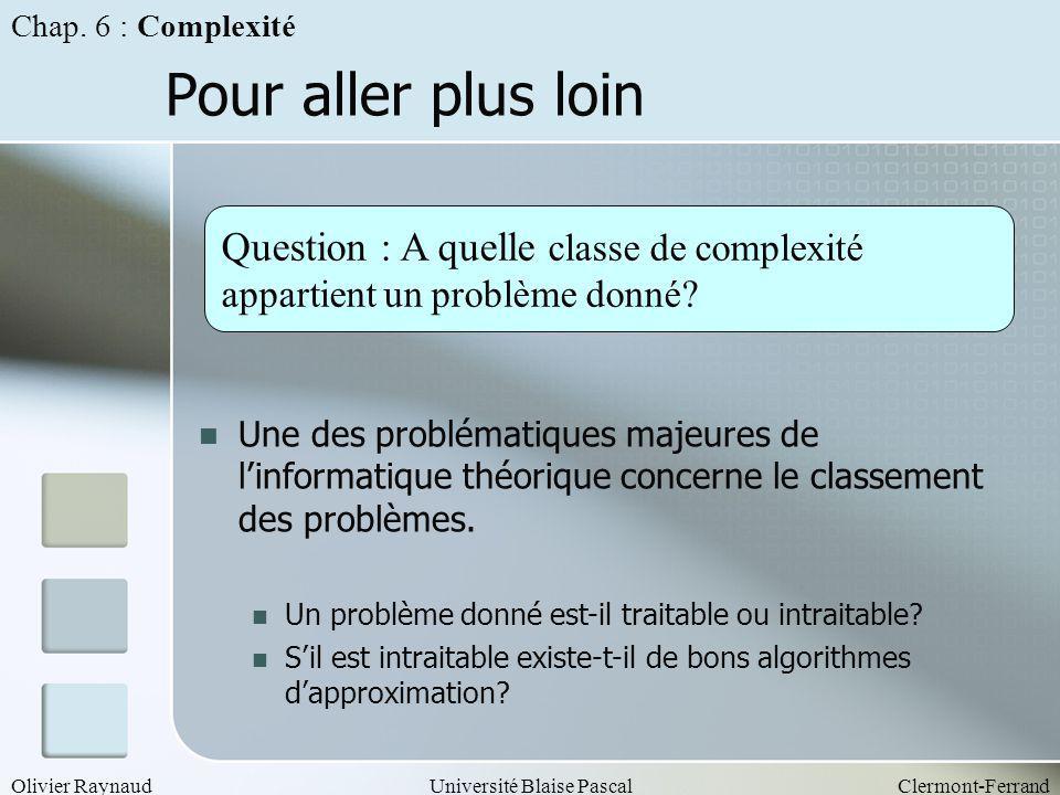 Olivier RaynaudUniversité Blaise PascalClermont-Ferrand Pour aller plus loin Question : A quelle classe de complexité appartient un problème donné? Un