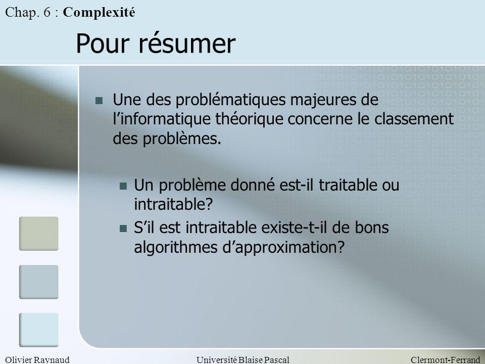 Olivier RaynaudUniversité Blaise PascalClermont-Ferrand Pour résumer Une des problématiques majeures de linformatique théorique concerne le classement