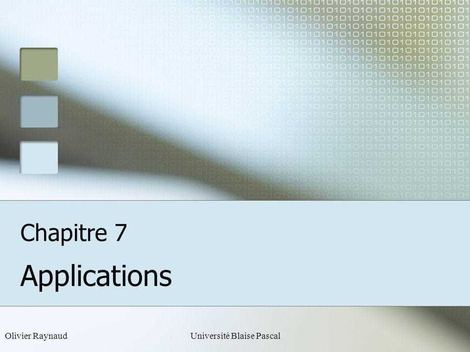 Olivier RaynaudUniversité Blaise Pascal Chapitre 7 Applications