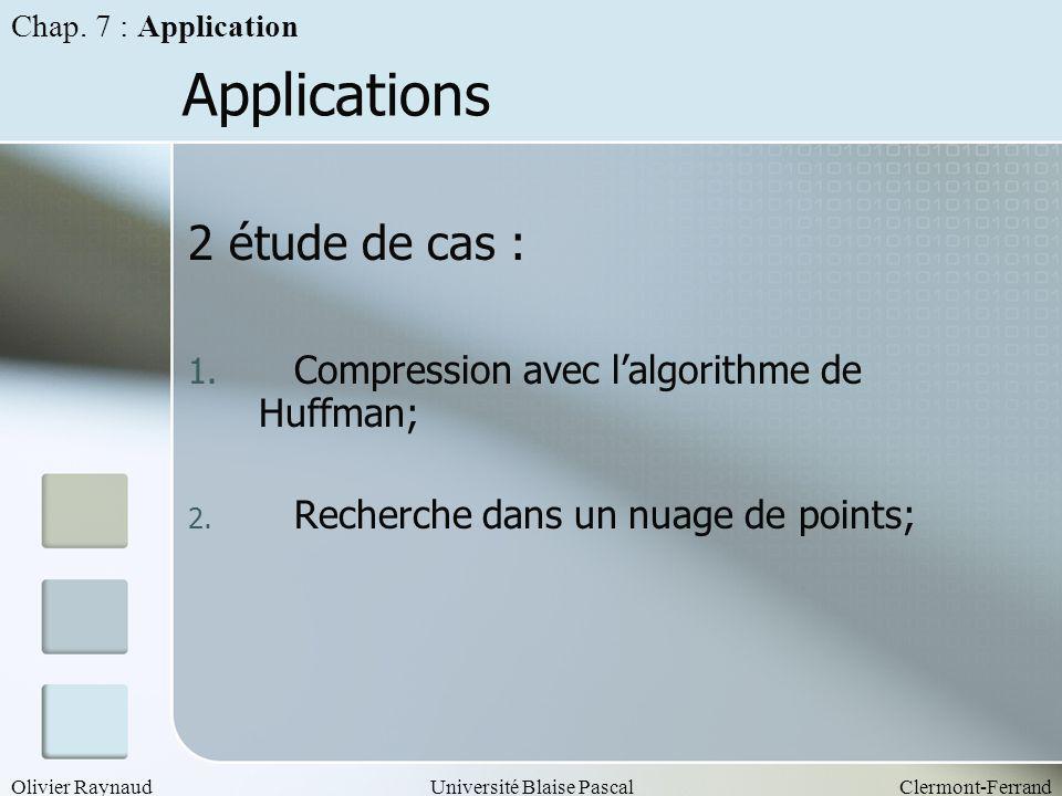 Olivier RaynaudUniversité Blaise PascalClermont-Ferrand Applications 2 étude de cas : 1. Compression avec lalgorithme de Huffman; 2. Recherche dans un