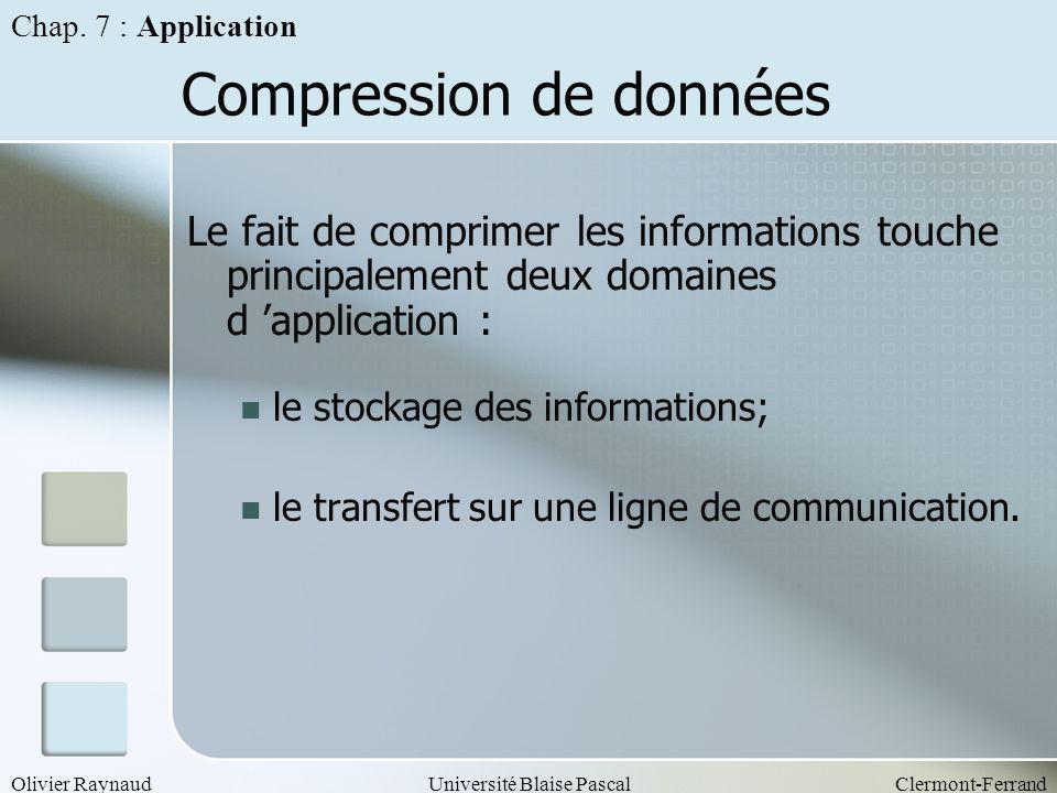 Olivier RaynaudUniversité Blaise PascalClermont-Ferrand Compression de données Le fait de comprimer les informations touche principalement deux domain