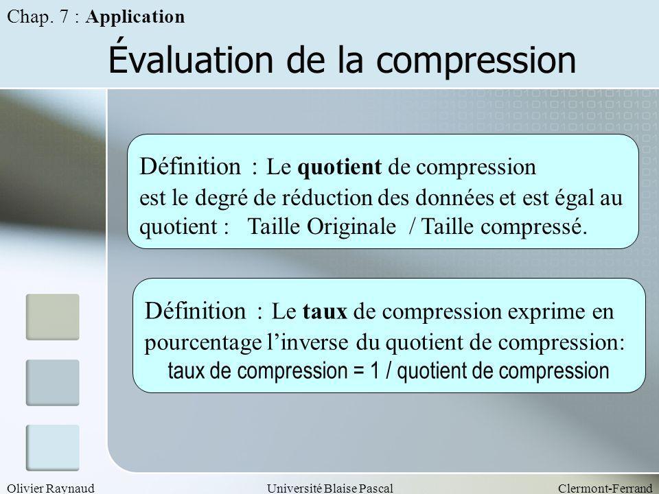 Olivier RaynaudUniversité Blaise PascalClermont-Ferrand Évaluation de la compression Définition : Le quotient de compression est le degré de réduction