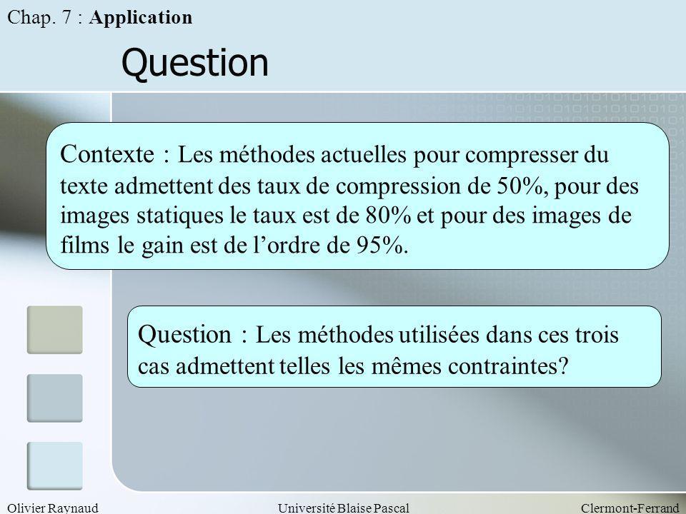 Olivier RaynaudUniversité Blaise PascalClermont-Ferrand Question Contexte : Les méthodes actuelles pour compresser du texte admettent des taux de comp