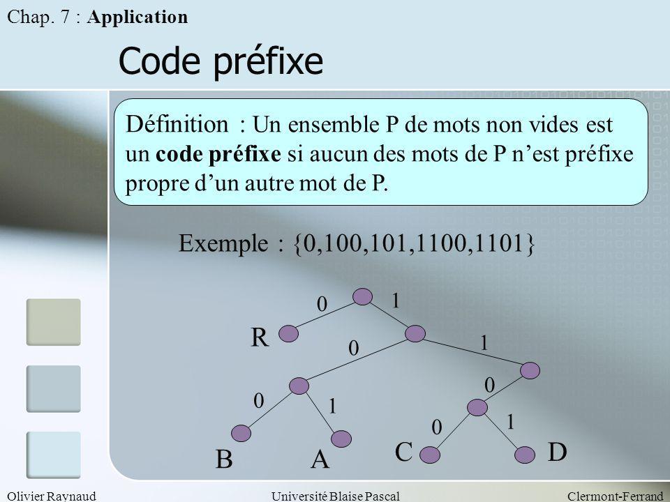 Olivier RaynaudUniversité Blaise PascalClermont-Ferrand Code préfixe Définition : Un ensemble P de mots non vides est un code préfixe si aucun des mot