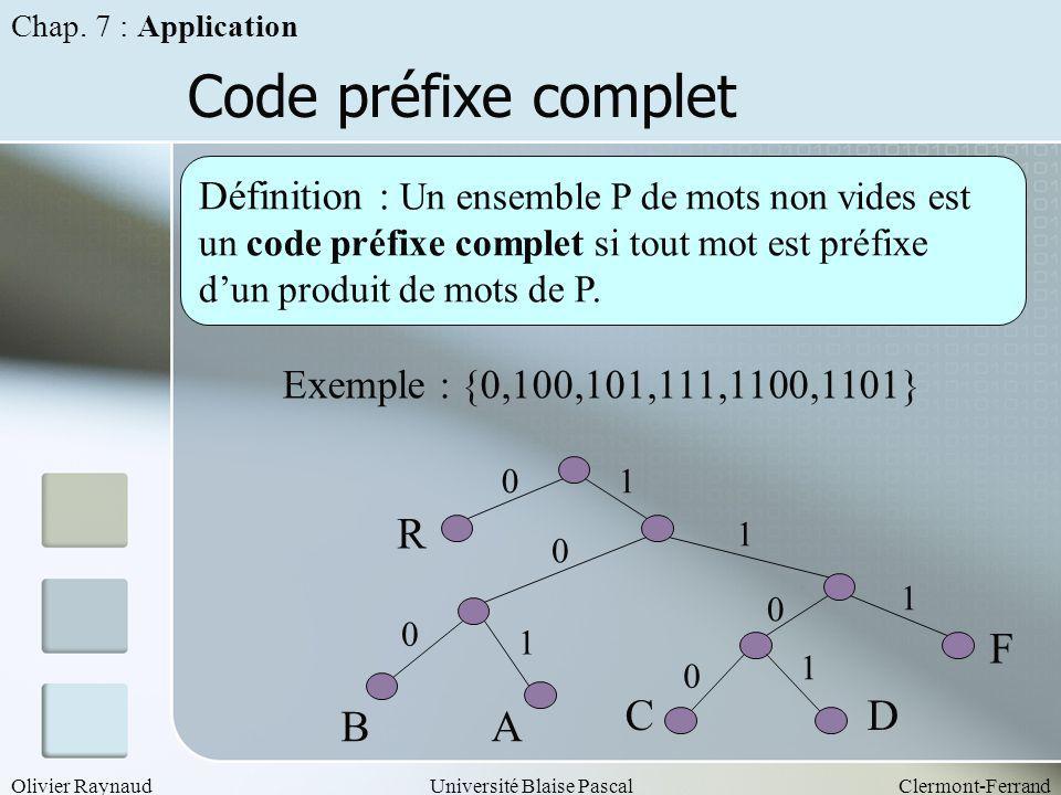 Olivier RaynaudUniversité Blaise PascalClermont-Ferrand Code préfixe complet Définition : Un ensemble P de mots non vides est un code préfixe complet