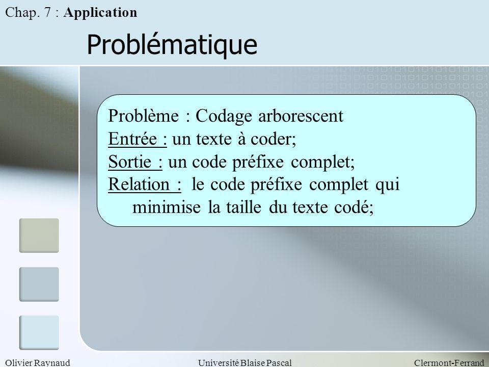 Olivier RaynaudUniversité Blaise PascalClermont-Ferrand Problématique Problème : Codage arborescent Entrée : un texte à coder; Sortie : un code préfix
