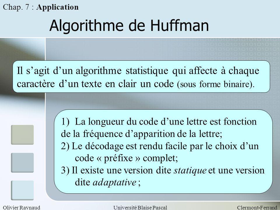 Olivier RaynaudUniversité Blaise PascalClermont-Ferrand Algorithme de Huffman Il sagit dun algorithme statistique qui affecte à chaque caractère dun t