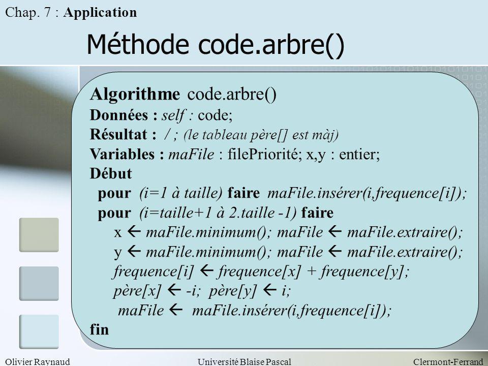 Olivier RaynaudUniversité Blaise PascalClermont-Ferrand Méthode code.arbre() Chap. 7 : Application Algorithme code.arbre() Données : self : code; Résu