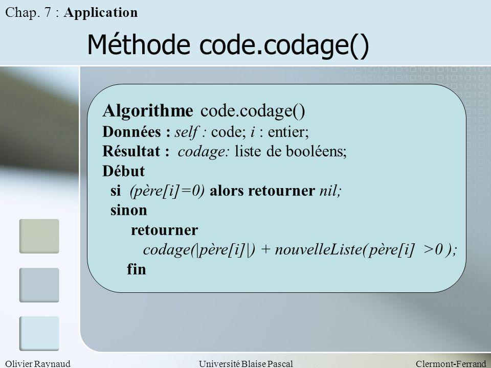 Olivier RaynaudUniversité Blaise PascalClermont-Ferrand Méthode code.codage() Chap. 7 : Application Algorithme code.codage() Données : self : code; i