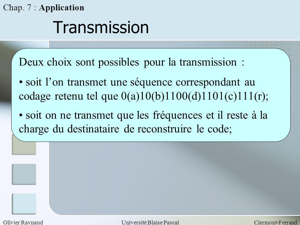 Olivier RaynaudUniversité Blaise PascalClermont-Ferrand Transmission Deux choix sont possibles pour la transmission : soit lon transmet une séquence c