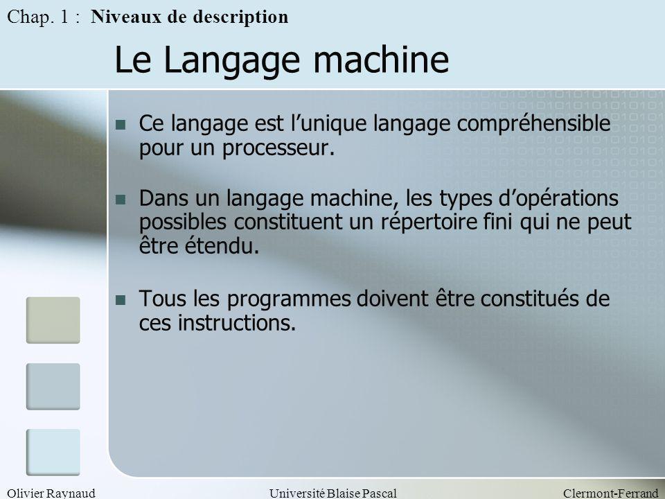 Olivier RaynaudUniversité Blaise PascalClermont-Ferrand Le Langage machine Ce langage est lunique langage compréhensible pour un processeur. Dans un l