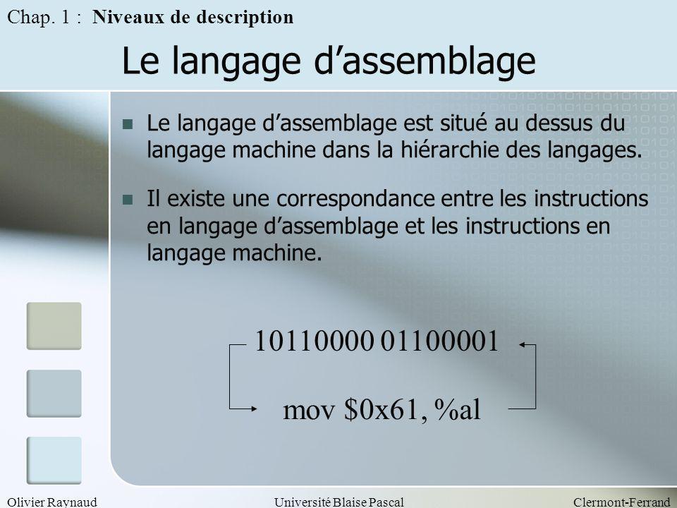 Olivier RaynaudUniversité Blaise PascalClermont-Ferrand Le langage dassemblage Le langage dassemblage est situé au dessus du langage machine dans la h