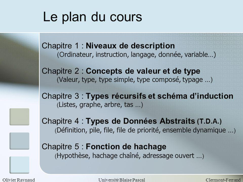 Olivier RaynaudUniversité Blaise PascalClermont-Ferrand Le plan du cours Chapitre 1 : Niveaux de description (O rdinateur, instruction, langage, donné