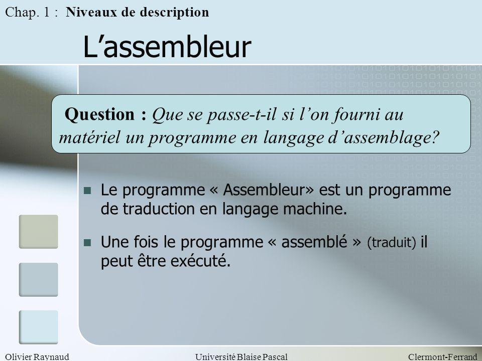Olivier RaynaudUniversité Blaise PascalClermont-Ferrand Lassembleur Le programme « Assembleur» est un programme de traduction en langage machine. Une