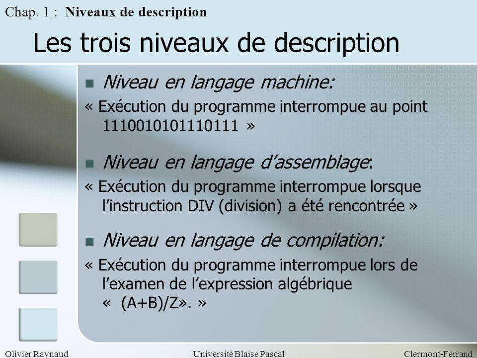 Olivier RaynaudUniversité Blaise PascalClermont-Ferrand Les trois niveaux de description Niveau en langage machine: « Exécution du programme interromp