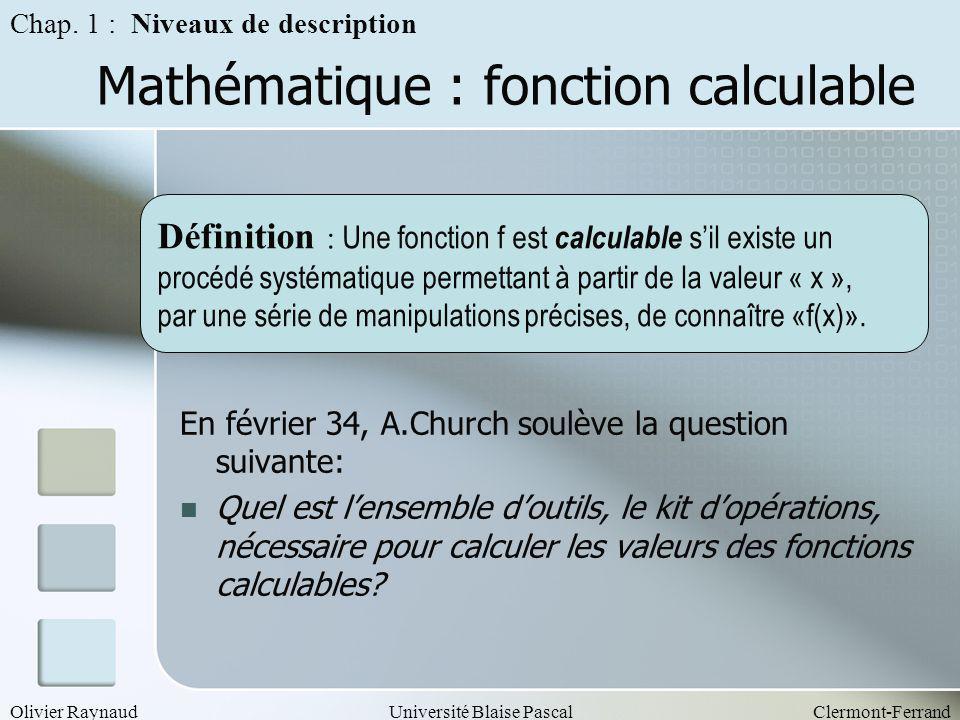 Olivier RaynaudUniversité Blaise PascalClermont-Ferrand Mathématique : fonction calculable Définition : Une fonction f est calculable sil existe un pr