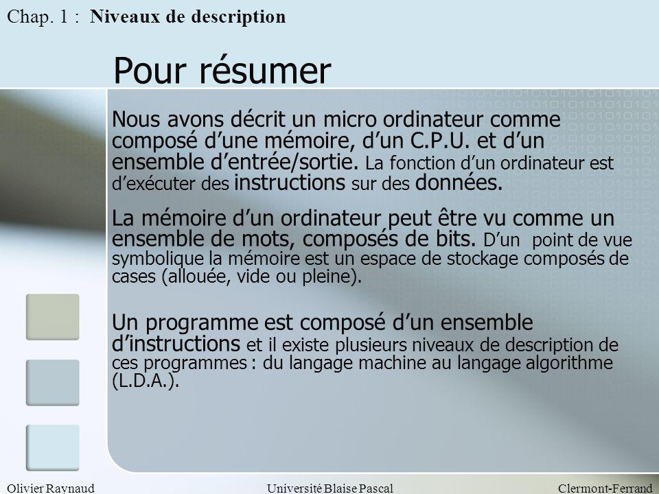 Olivier RaynaudUniversité Blaise PascalClermont-Ferrand Pour résumer Nous avons décrit un micro ordinateur comme composé dune mémoire, dun C.P.U. et d