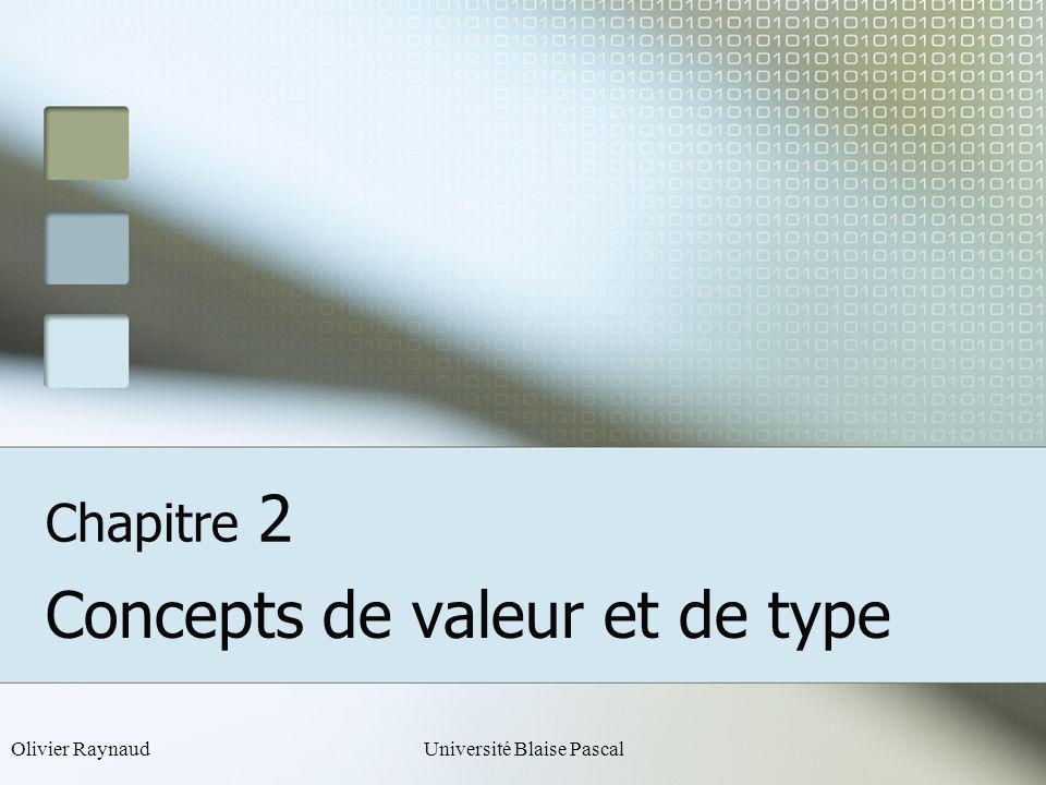 Olivier RaynaudUniversité Blaise Pascal Chapitre 2 Concepts de valeur et de type