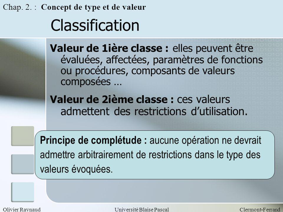 Olivier RaynaudUniversité Blaise PascalClermont-Ferrand Classification Valeur de 1ière classe : elles peuvent être évaluées, affectées, paramètres de