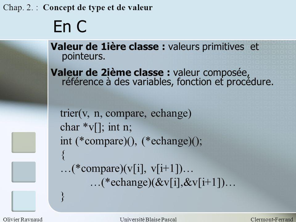 Olivier RaynaudUniversité Blaise PascalClermont-Ferrand En C Valeur de 1ière classe : valeurs primitives et pointeurs. Valeur de 2ième classe : valeur