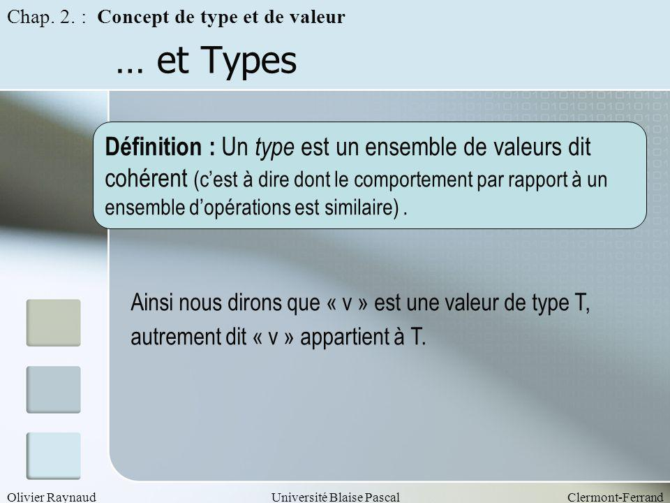 Olivier RaynaudUniversité Blaise PascalClermont-Ferrand … et Types Chap. 2. : Concept de type et de valeur Définition : Un type est un ensemble de val