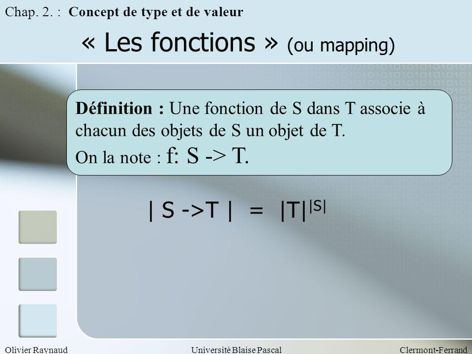 Olivier RaynaudUniversité Blaise PascalClermont-Ferrand « Les fonctions » (ou mapping) | S ->T | = |T| |S| Chap. 2. : Concept de type et de valeur Déf