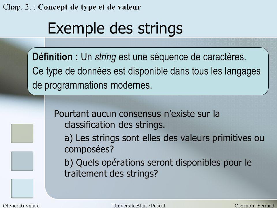 Olivier RaynaudUniversité Blaise PascalClermont-Ferrand Exemple des strings Pourtant aucun consensus nexiste sur la classification des strings. a) Les