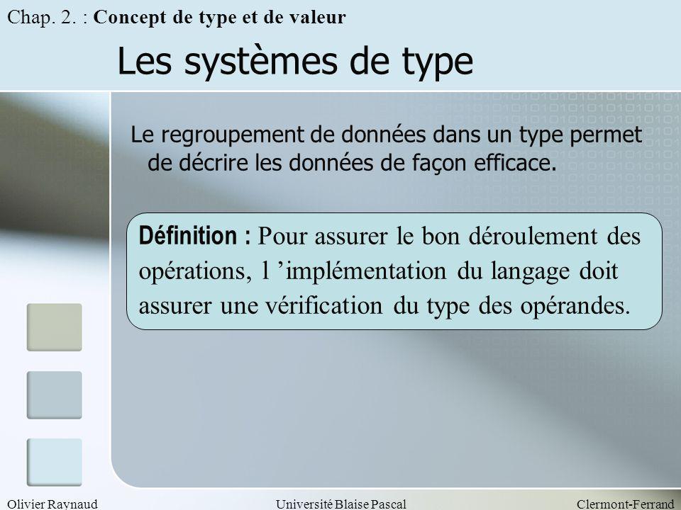 Olivier RaynaudUniversité Blaise PascalClermont-Ferrand Les systèmes de type Le regroupement de données dans un type permet de décrire les données de