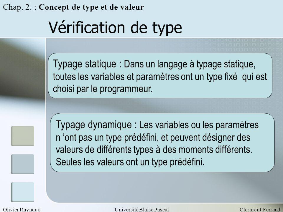 Olivier RaynaudUniversité Blaise PascalClermont-Ferrand Vérification de type Chap. 2. : Concept de type et de valeur Typage statique : Dans un langage