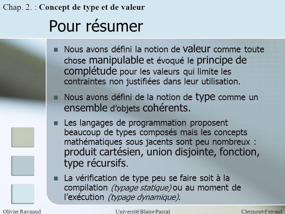 Olivier RaynaudUniversité Blaise PascalClermont-Ferrand Pour résumer Nous avons défini la notion de valeur comme toute chose manipulable et évoqué le
