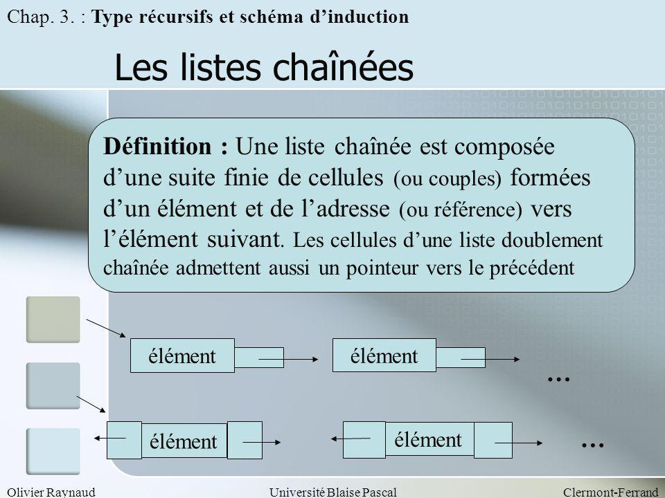 Olivier RaynaudUniversité Blaise PascalClermont-Ferrand Les listes chaînées Définition : Une liste chaînée est composée dune suite finie de cellules (