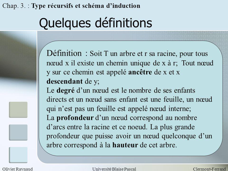Olivier RaynaudUniversité Blaise PascalClermont-Ferrand Quelques définitions Définition : Soit T un arbre et r sa racine, pour tous nœud x il existe u
