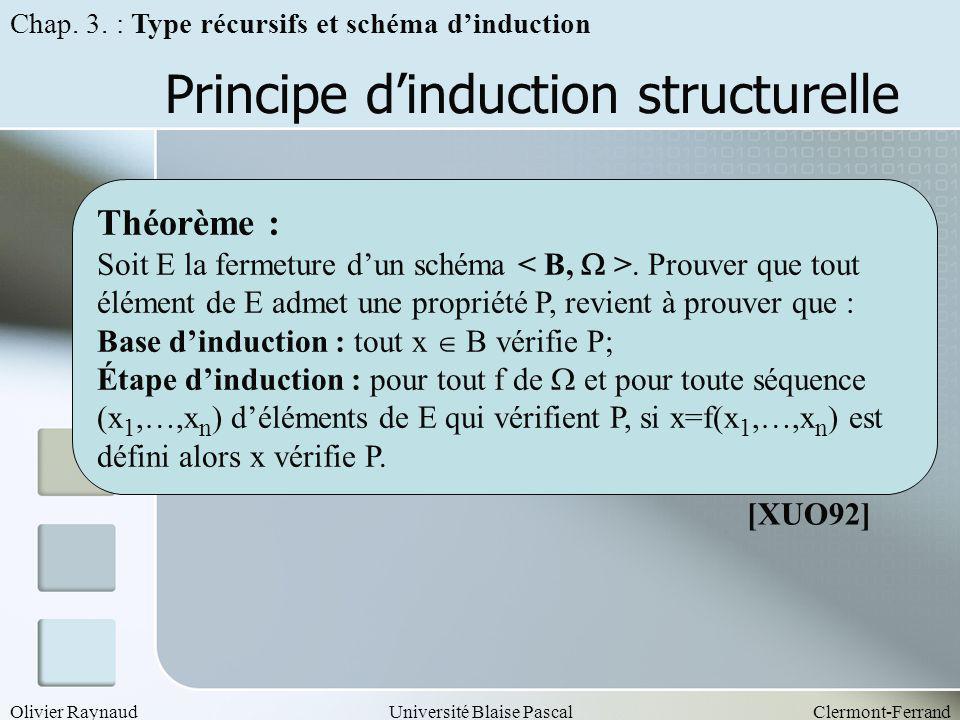Olivier RaynaudUniversité Blaise PascalClermont-Ferrand Principe dinduction structurelle Théorème : Soit E la fermeture dun schéma. Prouver que tout é